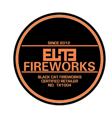 Elite Fireworks round logo, with text saying