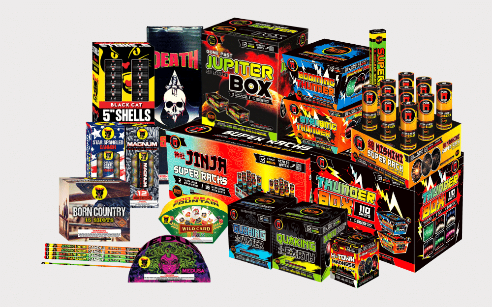 A picture of many of the new products at Elite Fireworks Warehouse in Katy, Texas. Lots of items of cheap Houston fireworks.